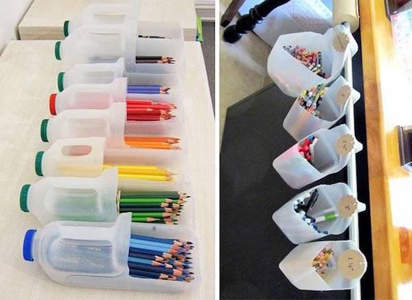 Bouteilles recyclés en rangements de crayon