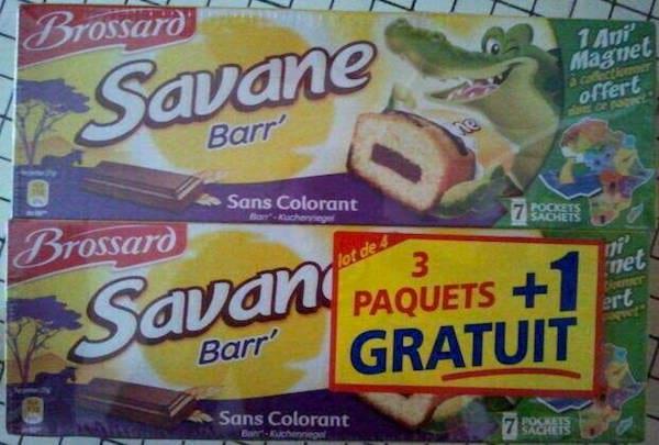 des paquets de gâteaux Brossard savane