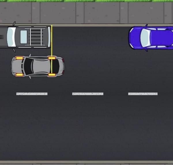 roues arrières alignées à la voiture d'à côté