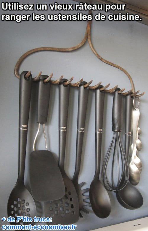 utiliser un rteau pour ranger ustensiles de cuisine