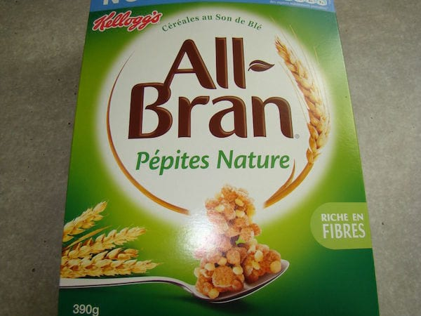 paquet de céréales all Bran de Kellogs