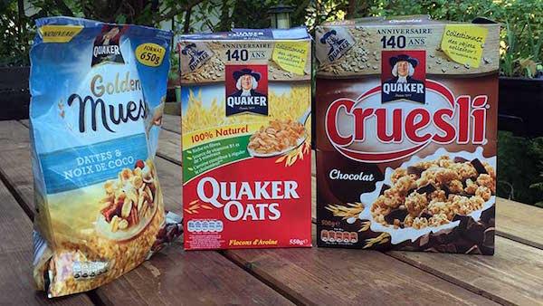 3 paquets de céréales quaker