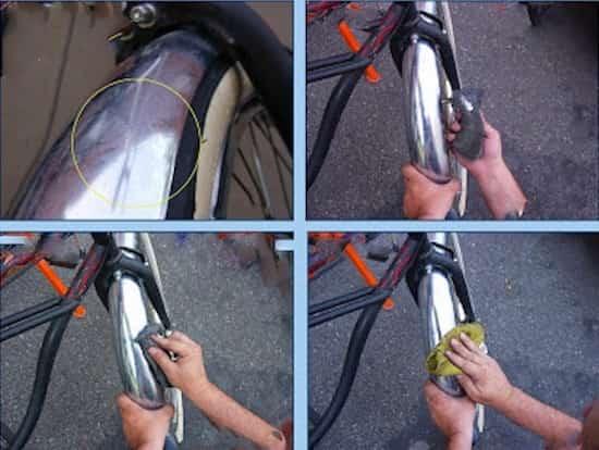 faire briller le garde boue d'un vélo avec du vinaigre blanc et un chiffon