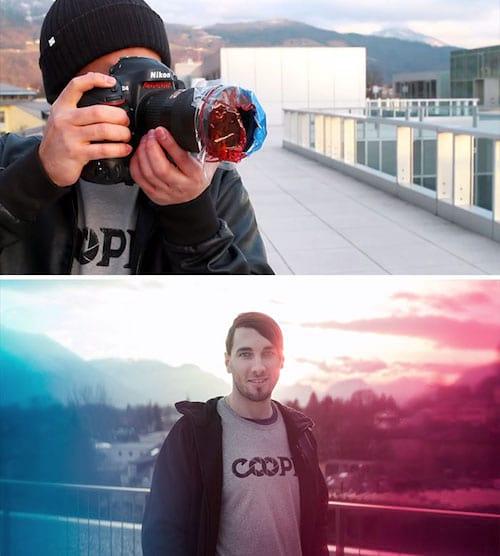Utiliser des sacs plastique de couleurs pour donner un aspect artistiques à vos photos