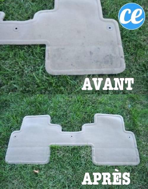 Des tapis de sol de voiture avant et après un nettoyage avec le détachant pour intérieur de voiture fait-maison.