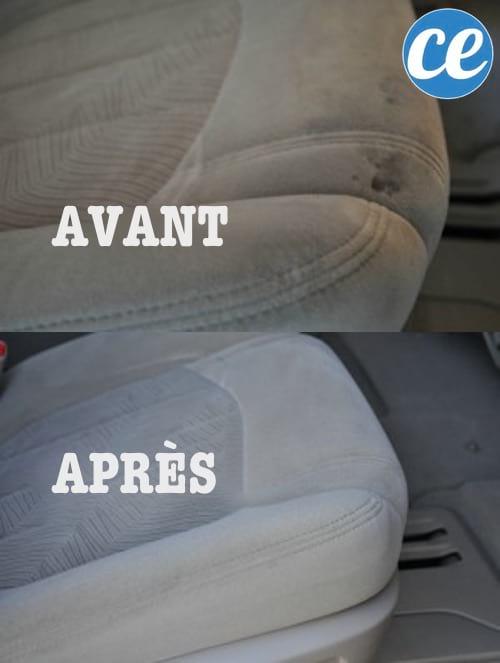 Des sièges de voiture avant et après un nettoyage avec le détachant pour intérieur de voiture fait-maison.