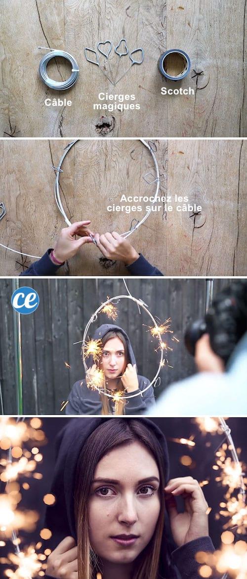 Utiliser des cierges magiques et un câble pour faire un effet magique