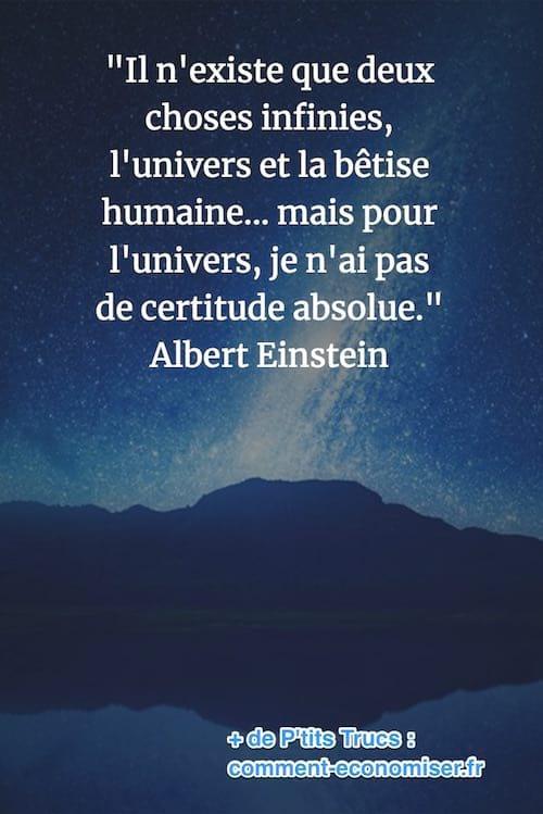 citation de Einstein sur l'univers et la bêtise humaine