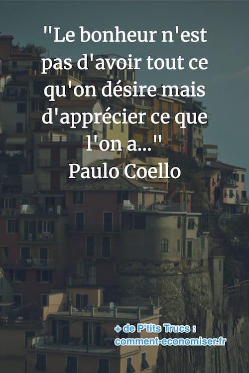 citation de Paulo Coelho sur le bonheur