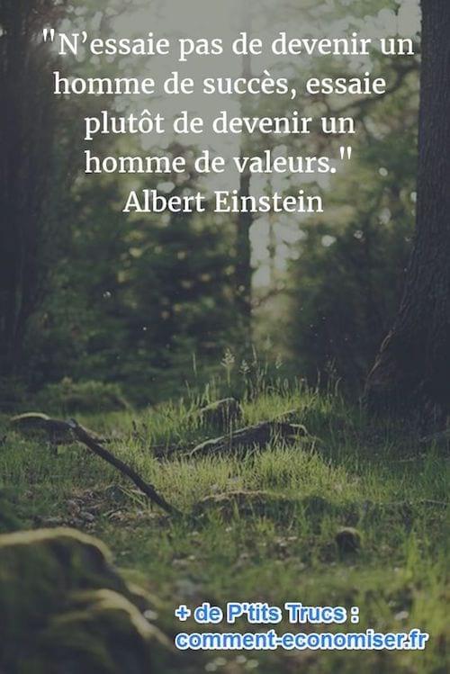 citation de Einstein sur les valeurs d'un homme