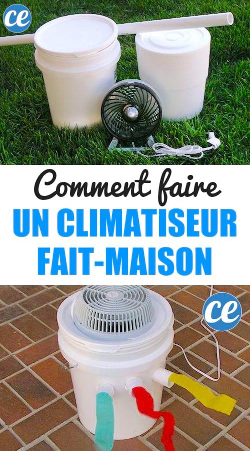 le tuto facile pour faire un climatiseur avec un seau plastique et un ventilateur.