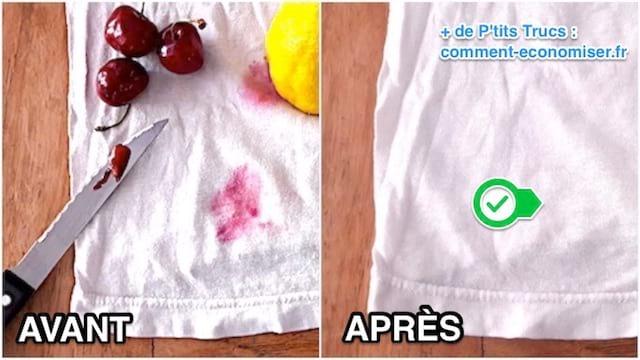 enlever une tache de fruit rouge avec un citron avant après
