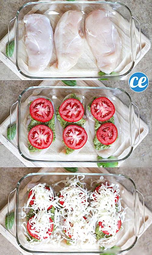 étape par étape comment faire un poulet à l'italienne avec de la mozzarella du pesto