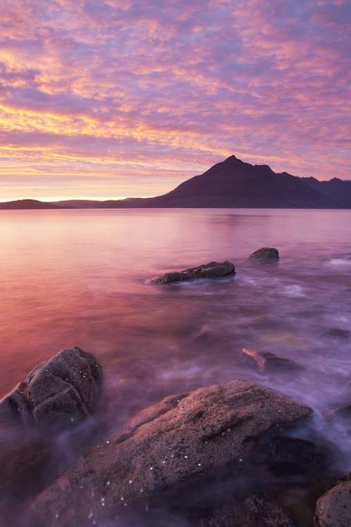 coucher de soleil sur l'ile de Skye en Écosse