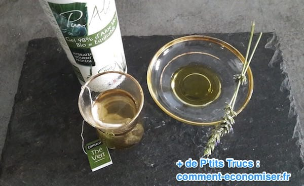 du gel d'aloe vera, du thé vert et de l'huile de lavande pour limiter les frottements des cuisses et les rougeurs