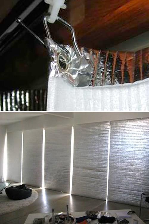 Des rideaux anti-chaleur fabriqués avec du matériel isotherme.