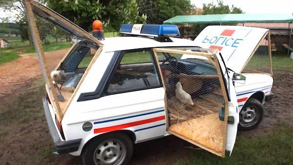 poulailler dans ancienne voiture