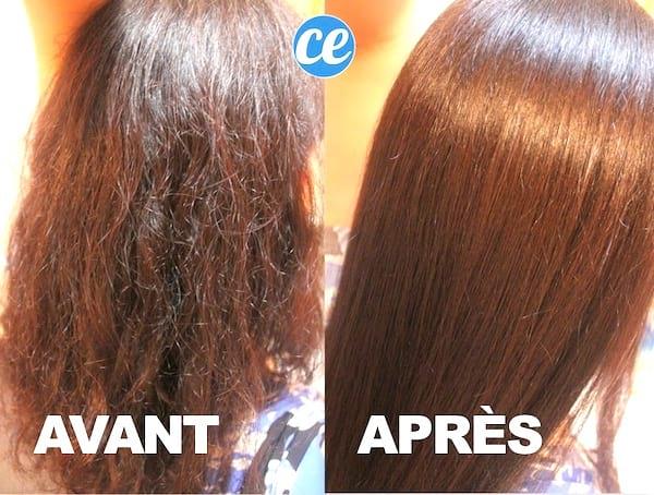 résultat après-shampoing à l'eau de riz pour les cheveux plus lisses