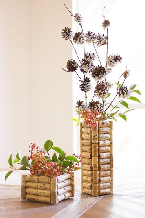 Bouchons en liège réutilisés en pot de fleurs
