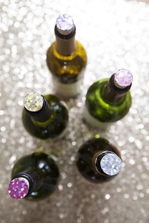 Bouchons de vin en paillettes