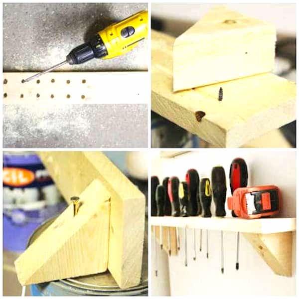Utilisez du bois de récup' pour faire une étagère pour ranger les tournevis et gagner de la place dans votre garage.