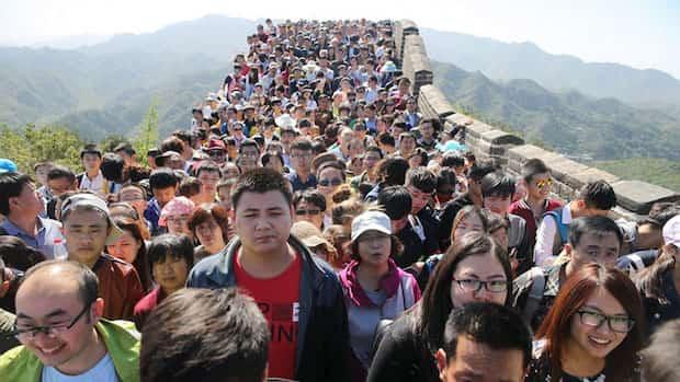 Muraille de chine avec plein de monde