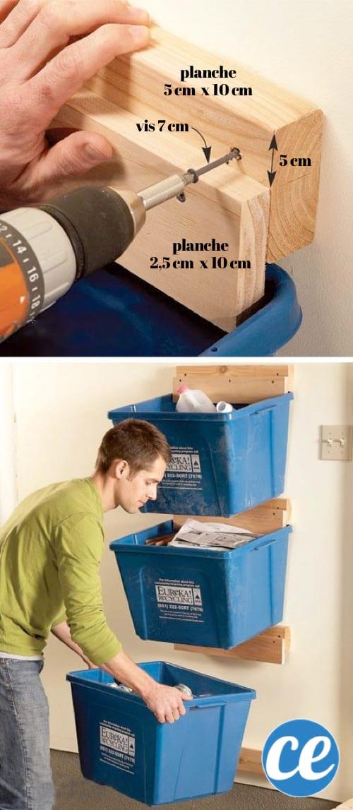 Utilisez des morceaux de bois pour suspendre les bacs à recyclage et gagner de la place dans votre garage.