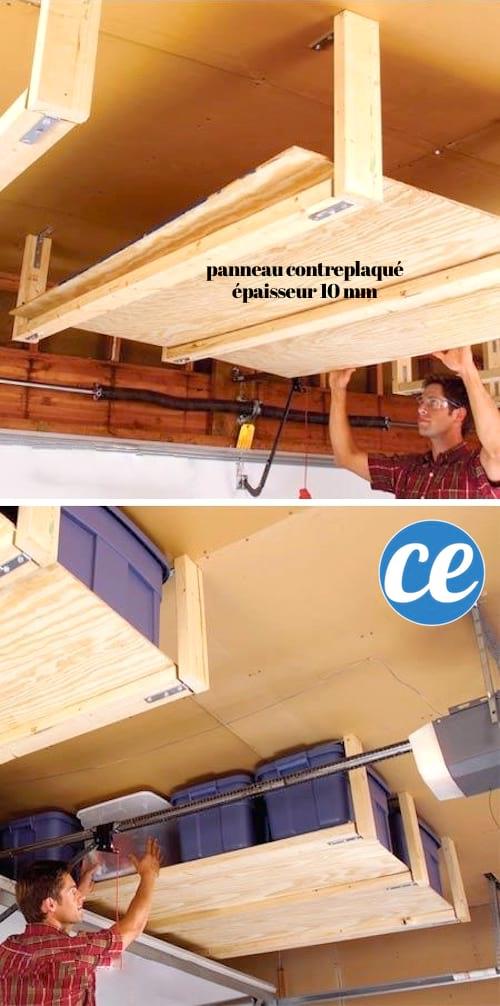 Accrochez des étagères au plafond pour gagner de la place dans votre garage.