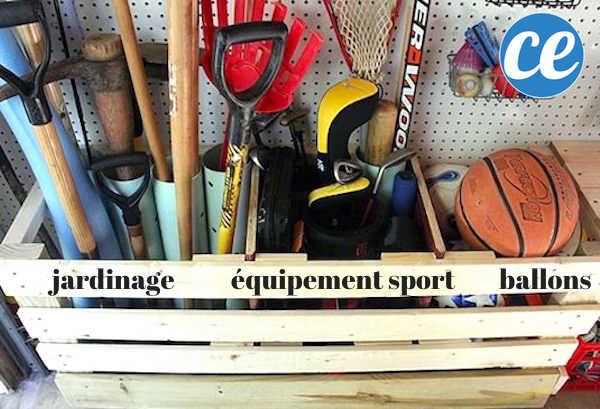 Utilisez une palette en bois comme caisse de rangement pour gagner de la place dans votre garage.