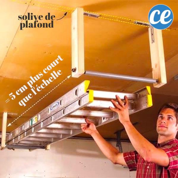 Fixez des tasseaux au plafond pour ranger l'échelle et gagner de la place dans votre garage.