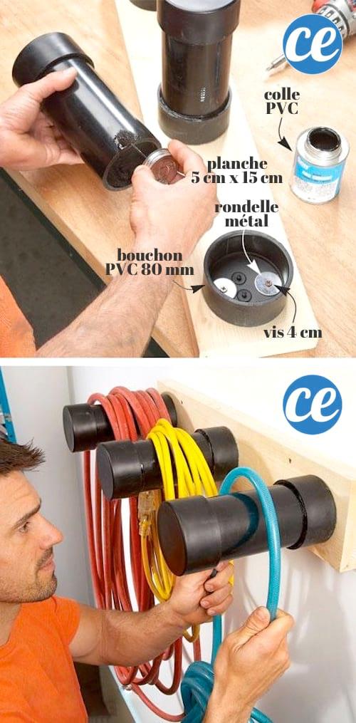 Utilisez des tuyaux en PVC pour ranger les câbles électriques et gagner de la place dans votre garage.