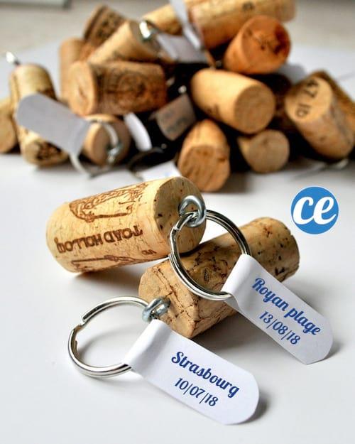 Porte-clefs souvenir en bouchon de liège