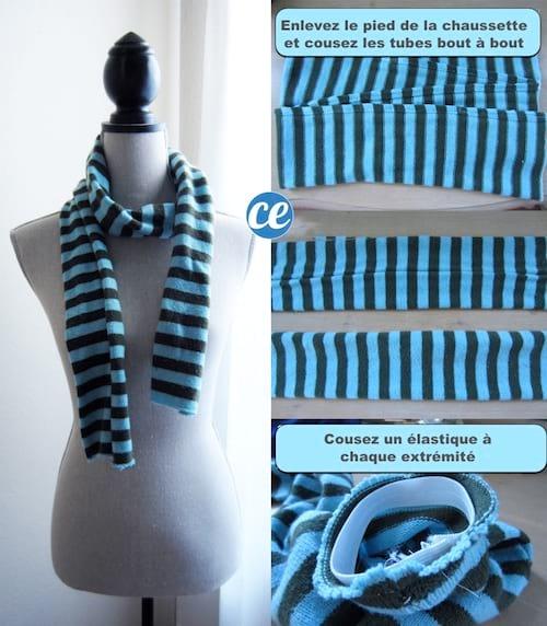 créez une écharpe couture diy avec chaussette
