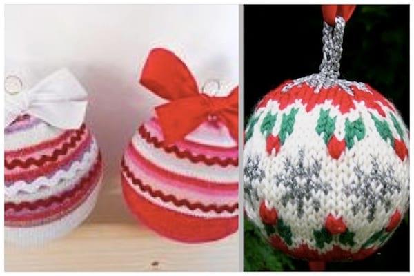 décorer le sapin avec boule tricotées