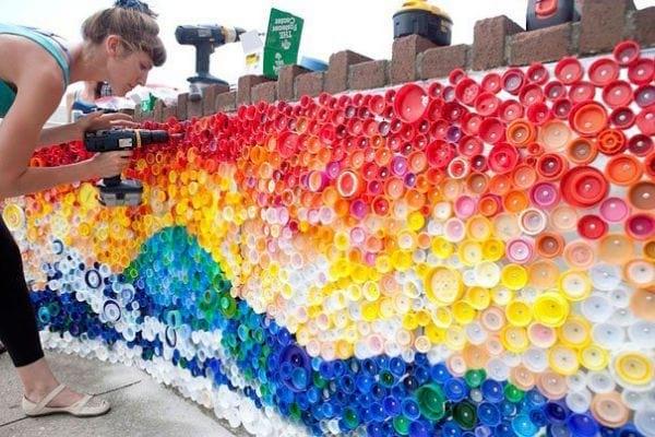 Bouchon recyclées en mosaique