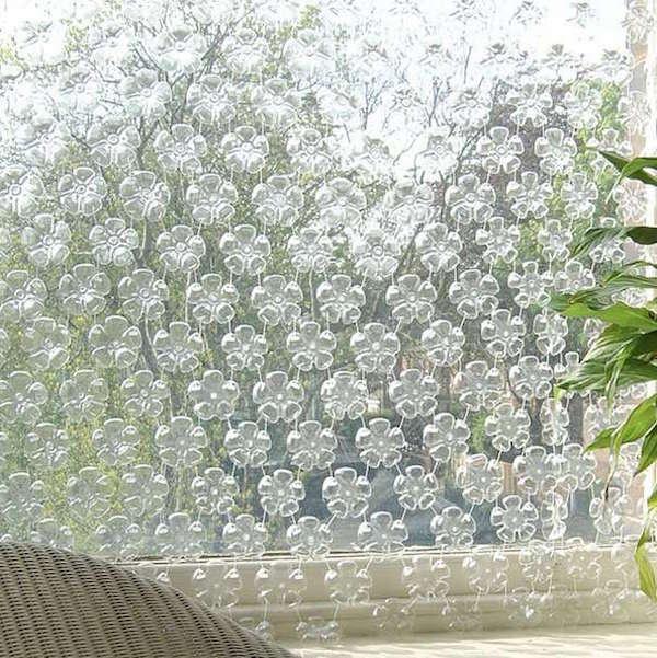 Bouteilles en plastique recyclées en rideaux