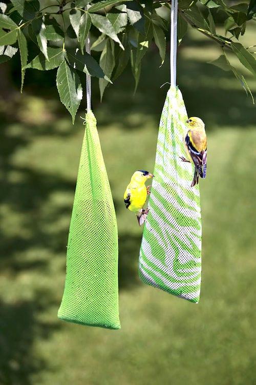 mangeoire oiseaux dans chaussette