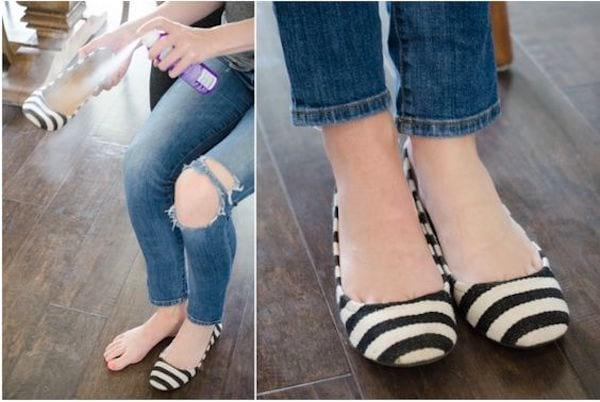 Si vous avez les pieds humides, vaporiser du shampoing sec dans les chaussures