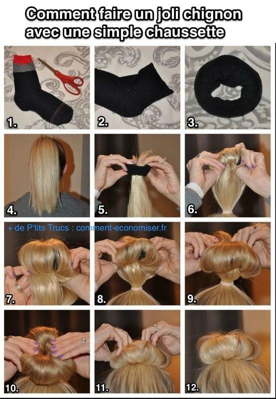 comment faire un chignon haut avec une chaussette