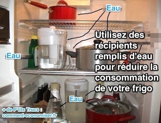 Utilisez de l'eau pour consommer moins d'énergie dans le frigo