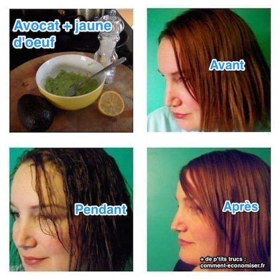 soin à l'avocat pour les cheveux secs