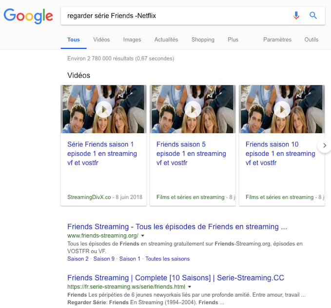 Utilisez le trait d'union avant un mot pour ne pas l'inclure dans vos recherches Google.