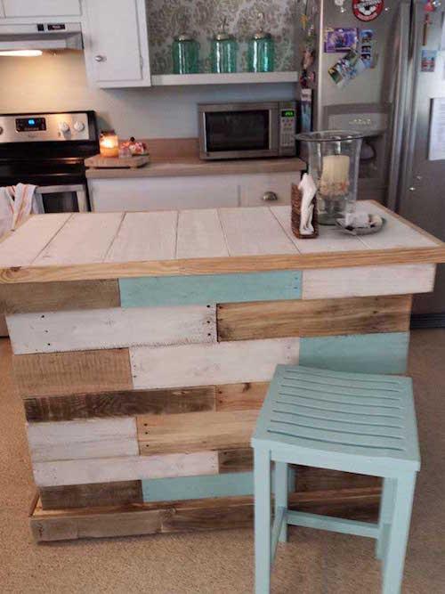 23 utilisations incroyables des vieilles palettes en bois pour la cuisine - Palette de couleur pour cuisine ...