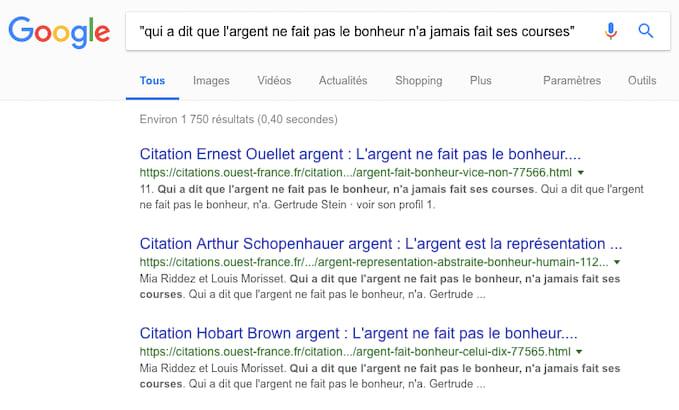 Utilisez des guillemets pour recherche un ou des mots précis dans vos recherches Google.