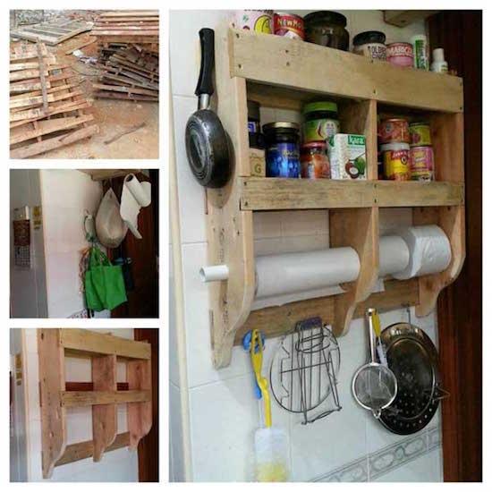 Des palettes de chantier ont servi à créer une étagère à épices
