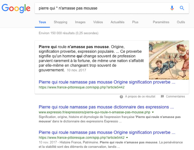 Utilisez un astérisque pour compléter une phrase dans vos recherches Google.