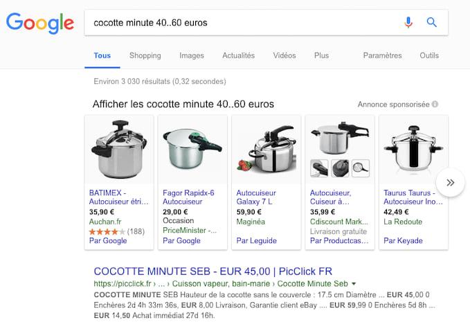 Utilisez deux points de suspension pour obtenir une fourchette de prix de vos résultat Google.
