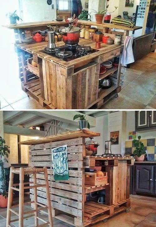 23 utilisations incroyables des vieilles palettes en bois pour la cuisine. Black Bedroom Furniture Sets. Home Design Ideas