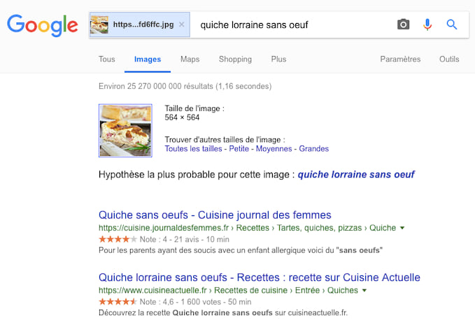 Des résultats Google par image.
