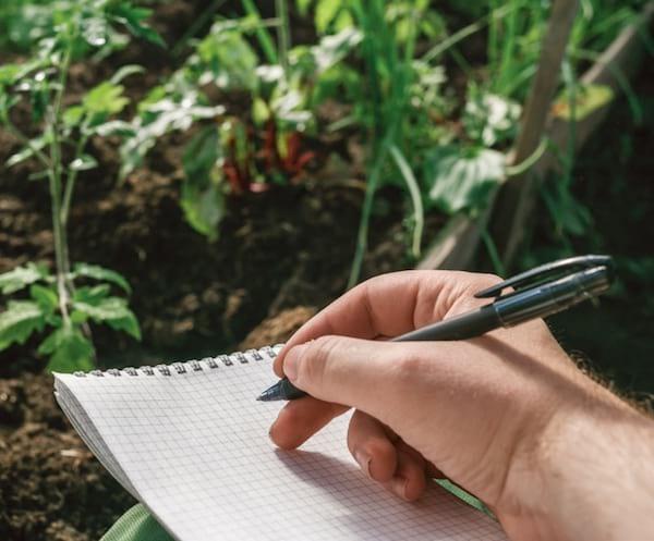 prendre des notes dans le jardin